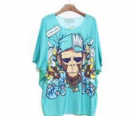 Cool Monkey Double-sided printed Batwing Loose T-shirt