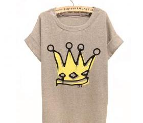 Big Royal Crown Watercolor T-shirt For Her
