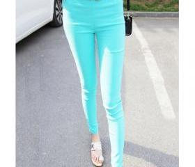 Candy Color Elastic Slim High Waistt Leggings